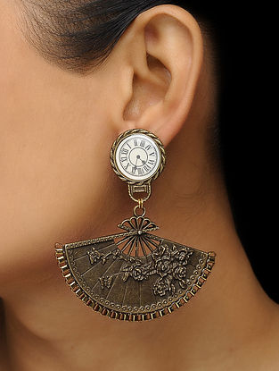 White Enameled Vintage Brass Clock Earrings with Floral Design