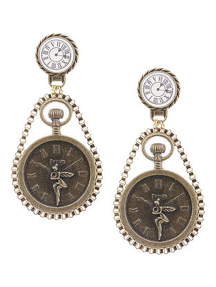 White Enameled Vintage Brass Clock Design Earrings