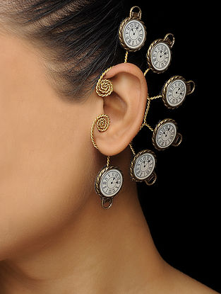 White Enameled Brass Clock Design Earcuff