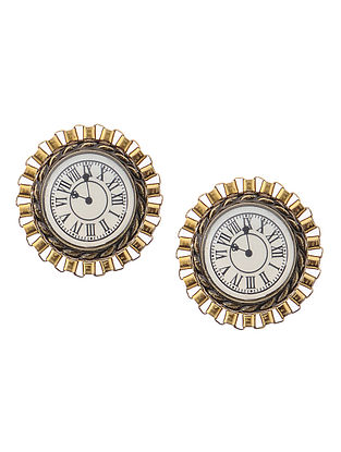 White Enameled Brass Clock Design Earrings