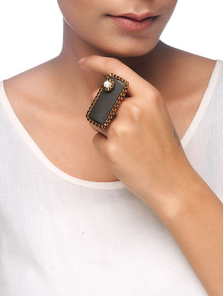 Brown Gold Tone Wood Adjustable Ring with Pearl