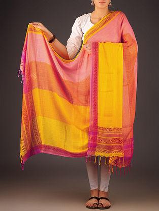 Yellow-Pink Uttrakhand Cotton Twill Handblock Printed Dupatta