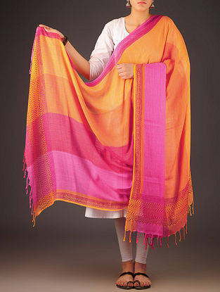 Orange-Fuschia Uttrakhand Cotton Twill Handblock Printed Dupatta