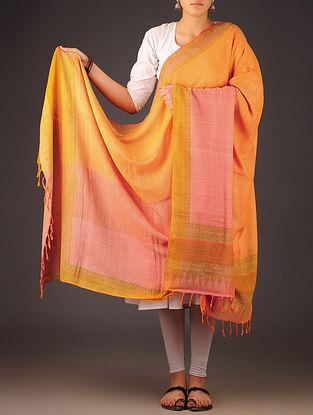Orange-Multi-Color Uttrakhand Cotton Twill Handblock Printed Dupatta