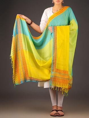 Green-Yellow-Sky Blue Uttrakhand Cotton Twill Handblock Printed Dupatta