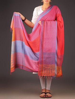 Pink-Purple Uttrakhand Cotton Twill Handblock Printed Dupatta