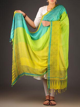 Yellow-Green-Blue Uttrakhand Cotton Twill Handblock Printed Dupatta