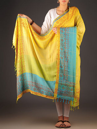 Yellow-Green-Sky Blue Uttrakhand Cotton Twill Handblock Printed Dupatta