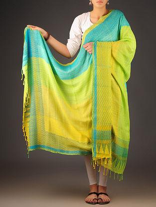 Lime-Sky Blue Uttrakhand Cotton Twill Handblock Printed Dupatta