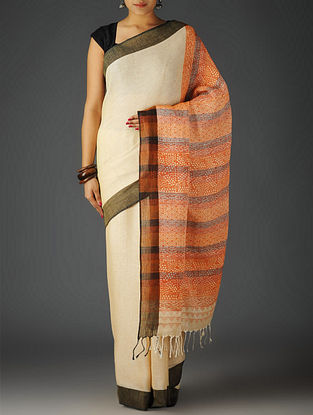 Ivory-Multi-Color Uttrakhand Cotton Netweave Handblock Printed Saree