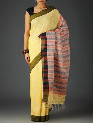 Yellow-Multi-Color Uttrakhand Cotton Netweave Handblock Printed Saree