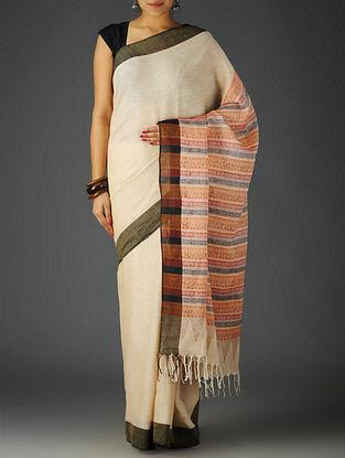 Ivory-Multicolor Uttrakhand Cotton Netweave Handblock Printed Saree
