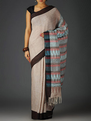 White-Brown-Multi-Color Uttrakhand Cotton Netweave Handblock Printed Saree