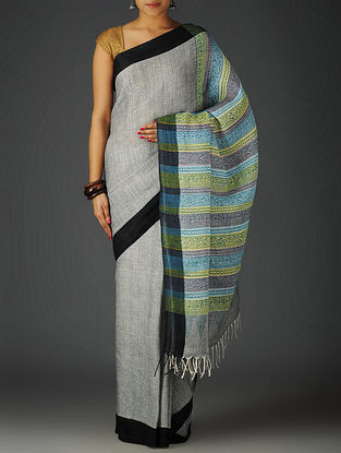 Black-Multi-Color Uttrakhand Cotton Netweave Handblock Printed Saree