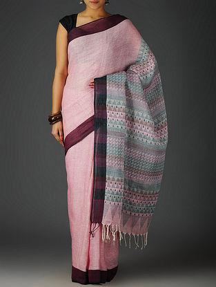 Pink-Wine Uttrakhand Cotton Netweave Handblock Printed Saree