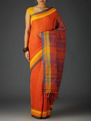 Red-Purple-Multi-Color Uttrakhand Cotton Twill Handblock Printed Saree