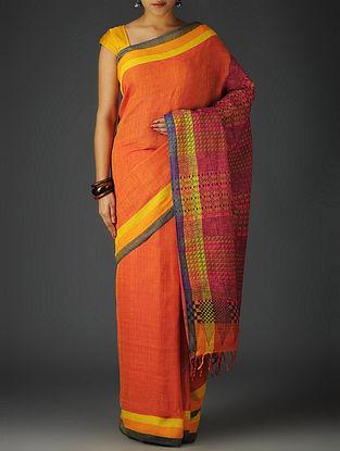 Red-Multicolor Uttrakhand Cotton Twill Handblock Printed Saree