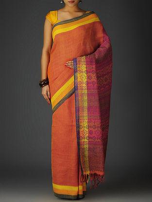 Red-Blue-Multi-Color Uttrakhand Cotton Twill Handblock Printed Saree