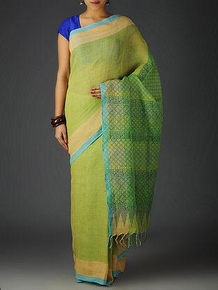 Green-Yellow-Sky Blue Uttrakhand Cotton Twill Handblock Printed Saree