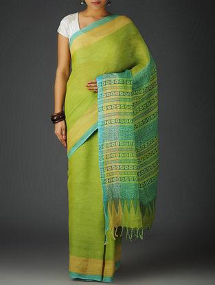 Green-Sky Blue Uttrakhand Cotton Twill Handblock Printed Saree