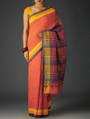 Red-Multi-Color Uttrakhand Cotton Twill Handblock Printed Saree