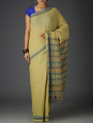 Olive-Indigo Uttrakhand Cotton Twill Handblock Printed Saree