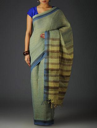 Green-Indigo Uttrakhand Cotton Twill Handblock Printed Saree