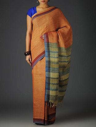 Red-Mustard-Indigo Uttrakhand Cotton Twill Handblock Printed Saree