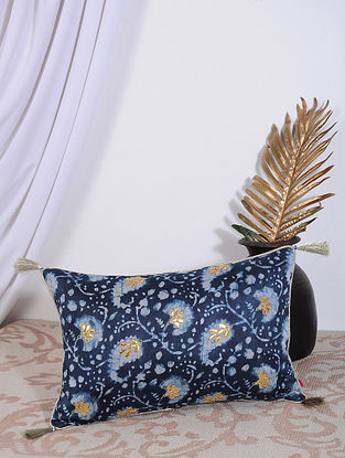 Indigo Dabu Printed and Hand Embroidered Chanderi Cushion Cover (18in X 12in)