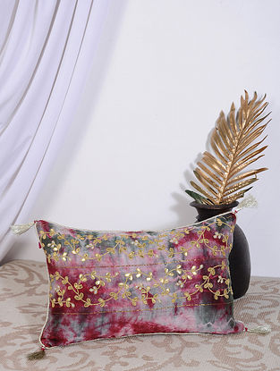 Fuschia Pink Clamp Dyed and Hand Embroidered Chanderi Cushion Cover (18in X 12in)