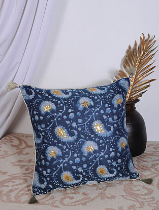 Indigo Dabu Printed and Hand Embroidered Chanderi Cushion Cover (16in X 16in)