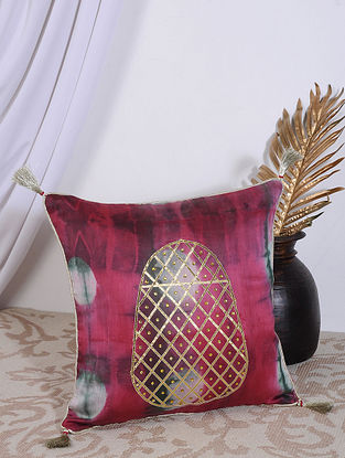 Fuschia Pink Clamp Dyed and Hand Embroidered Chanderi Cushion Cover (16in X 16in)