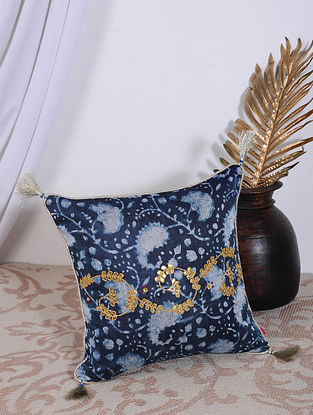 Indigo Dabu Printed and Hand Embroidered Chanderi Cushion Cover (14in X 14in)