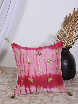 Pink Clamp Dyed and Hand Embroidered Chanderi Cushion Cover (14in X 14in)