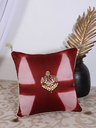 Maroon Clamp Dyed and Hand Embroidered Chanderi Cushion Cover (14in X 14in)