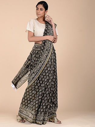 Black-Ivory Dabu-printed Chanderi Saree with Zari