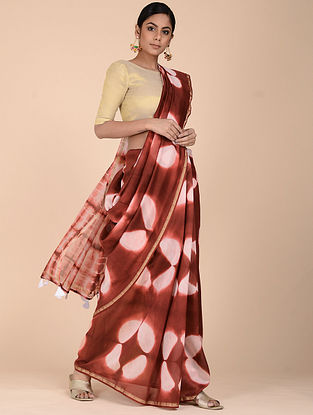 Red-Ivory Clamp-dyed Chanderi Saree with Zari