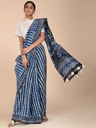 Blue-Ivory Dabu-printed Chanderi Saree with Zari