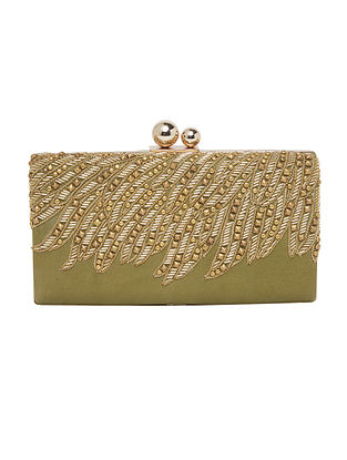 Olive Hand Embellished Genuine Leather Clutch