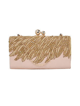 Pink Hand Embellished Genuine Leather Clutch