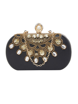 Black Hand Embellished Genuine Leather Clutch
