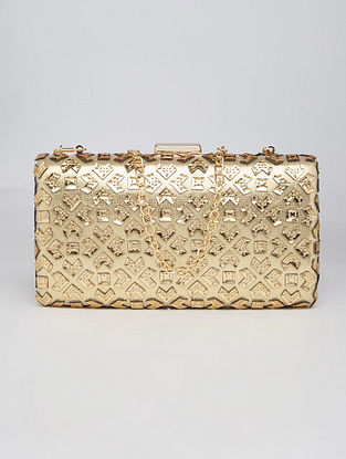 Gold Handcrafted Genuine Leather Clutch