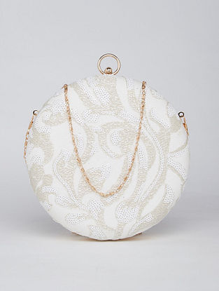 White Hand Embroidered Genuine Leather Clutch