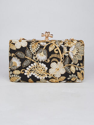 Black Gold Hand Embroidered Genuine Leather Clutch