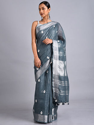 Grey Embroidered Linen Saree with Zari