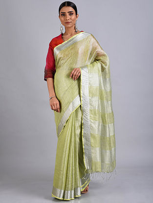 Green Embroidered Linen Saree