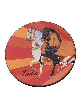 Multicolored Printed Magnet with Horse Motif (Dia:3.2in)
