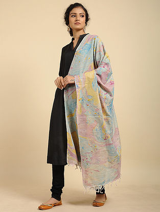 Yellow-Pink Handwoven Marble Printed Cotton Dupatta