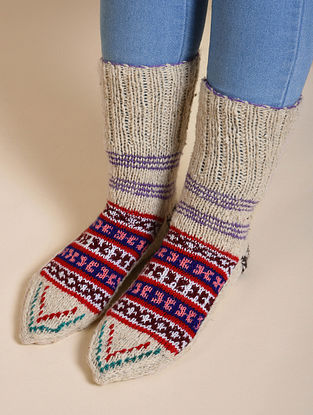 Off-White Hand Knitted Wool Socks