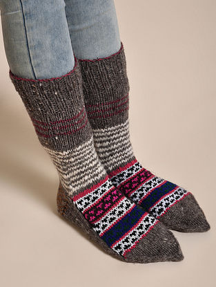 Grey-Pink Hand Knitted Wool Socks